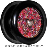 Handcrafted 18mm Black Acrylic Pink Beads Heart Screw Fit Plug