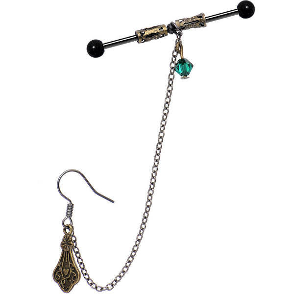 Handmade Celtic Barbell Earring Chain Created with Swarovski Crystals