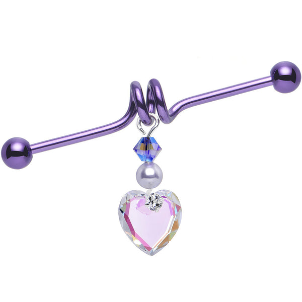 Aurora Heart Industrial Barbell Created with Swarovski Crystals 38mm