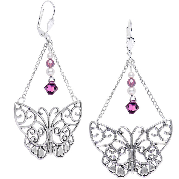 Handcrafted Butterfly Dangle Earrings Created with Swarovski Crystals