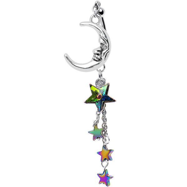 Cosmic Moon Double Mount Belly Ring Created with Swarovski Crystals