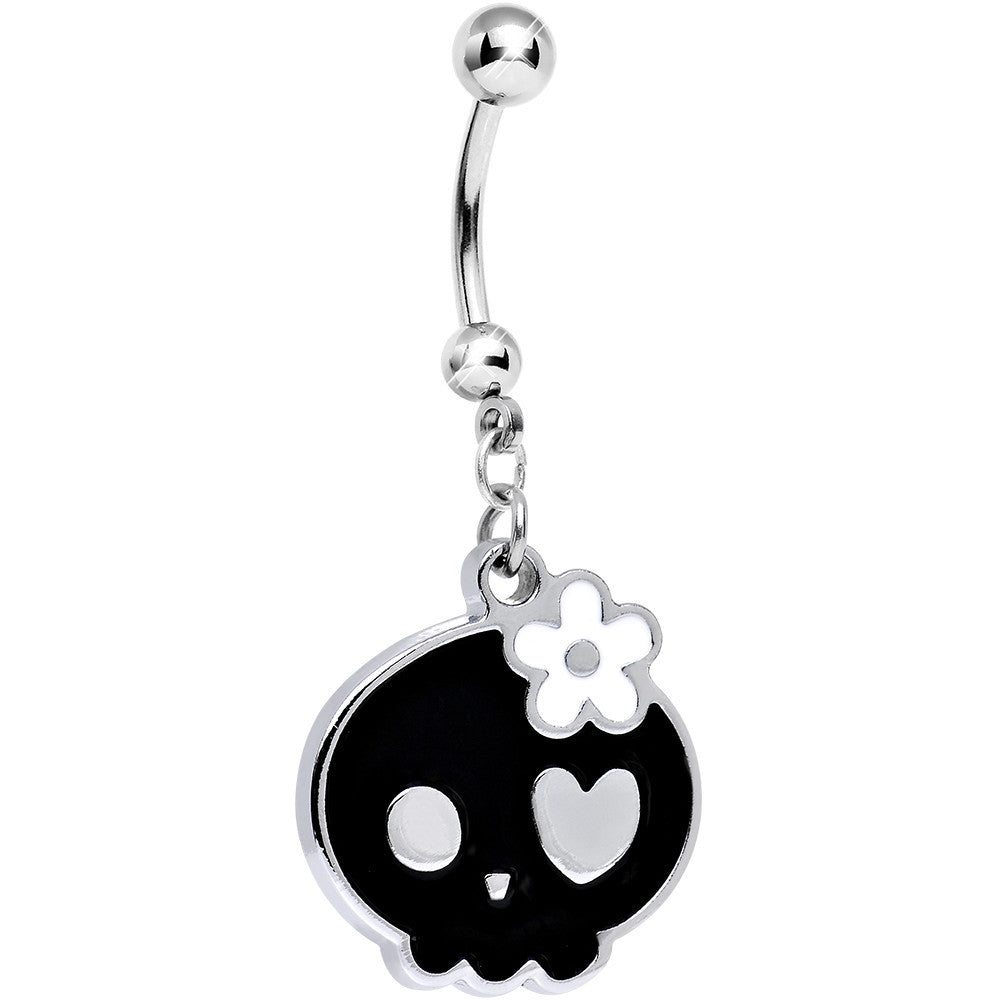 White Flower And Black Kawaii Feminine Skull Dangle Belly Ring