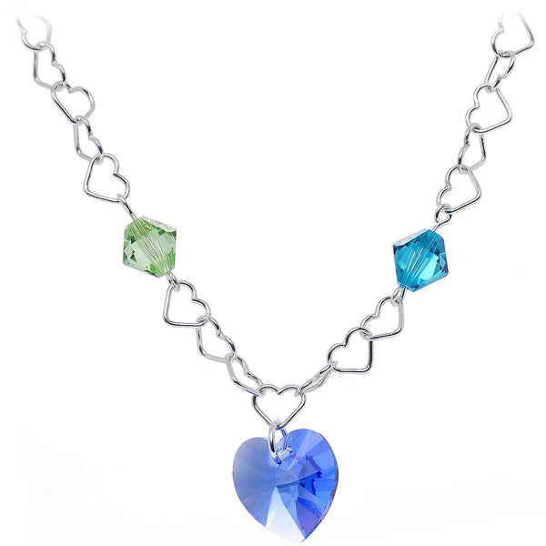 Custom Couples Heart Necklace Created with Swarovski Crystals