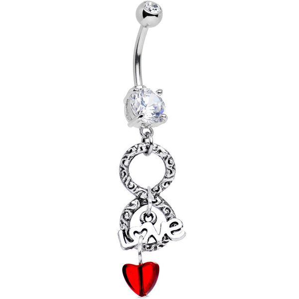 Handcrafted Clear Gem Red Heart Love Infinity Dangle Belly Ring