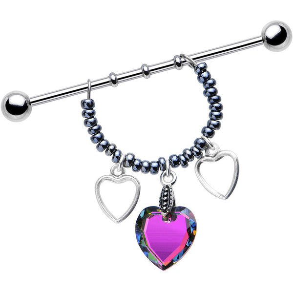 Handcrafted Heart Dangle Industrial Created with Swarovski Crystals