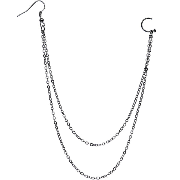 handcrafted pirate booty black plated ear to nose chain 20