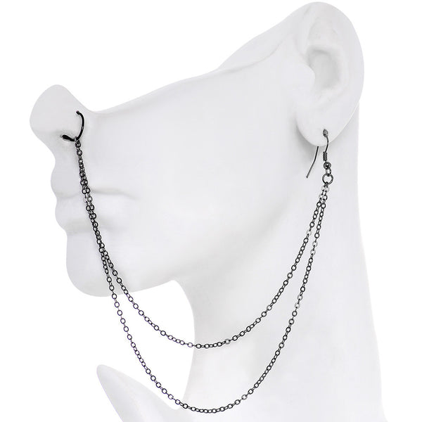 Handcrafted Pirate Booty Black Plated Ear to Nose Chain 20 Gauge 5/16""