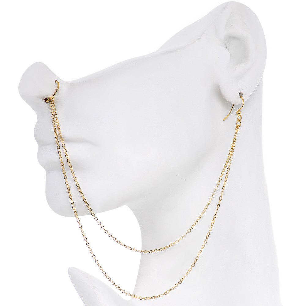 Handcrafted Pirate Booty Gold Plated Ear To Nose Chain 20 Gauge 5 16