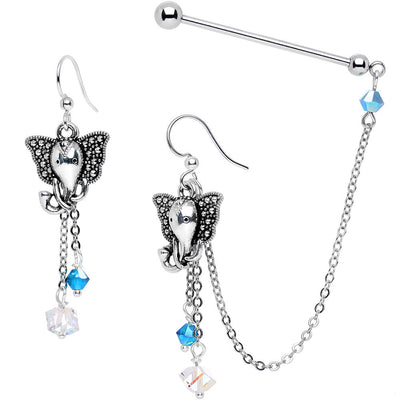 a6436528f Industrial Barbell Chain Earrings Created with Swarovs.