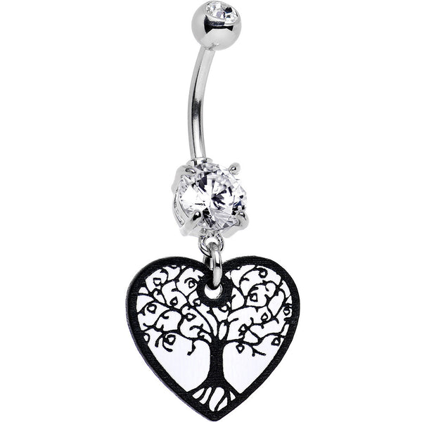Handcrafted Leafy Tree of Life Dangle Belly Ring