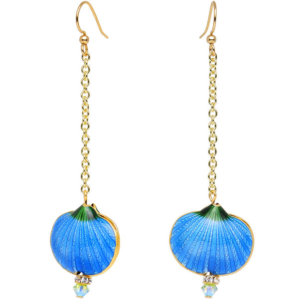 Handcrafted Azure Shell Drop Earrings Created with Swarovski Crystals
