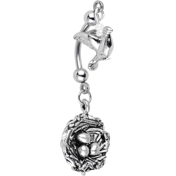 Handcrafted Eggs and Mama Bird Double Mount Belly Ring