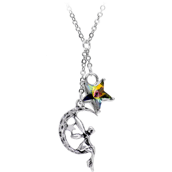 Handcrafted Fairy Pendant Necklace Created with Swarovski Crystals