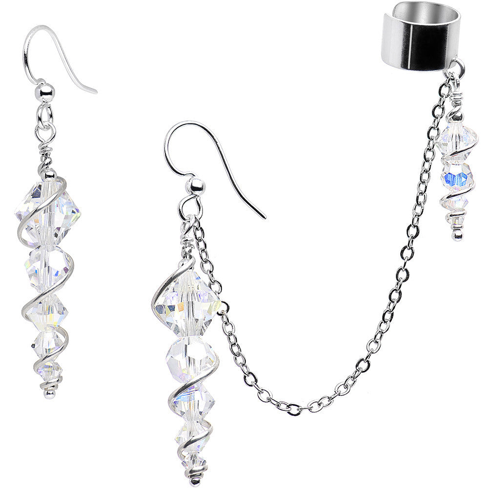 c1cfda0427898 Handcrafted Icicle Earrings and Ear Cuff Created with Swarovski Crystals