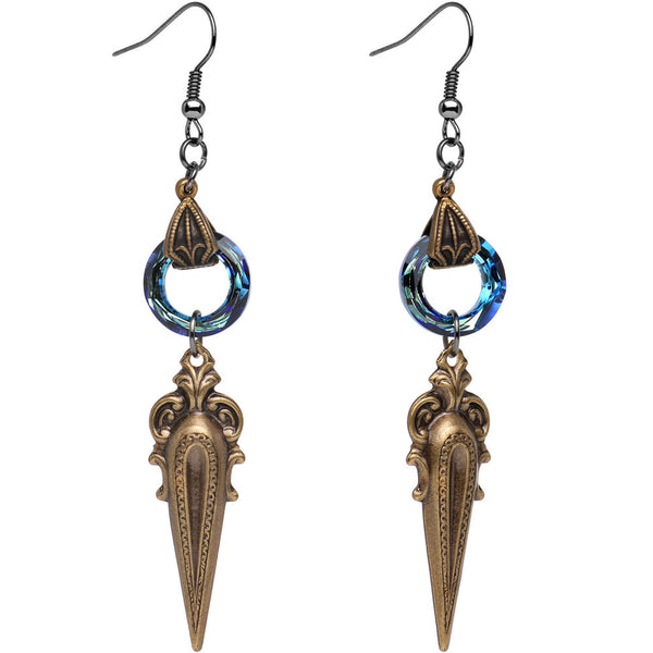 Handcrafted Fae Spike Dangle Earrings Created with Swarovski Crystals