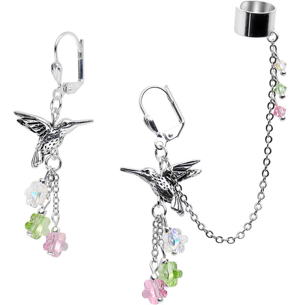 Handcrafted Hummingbird Cuff Earring Created with Swarovski Crystals
