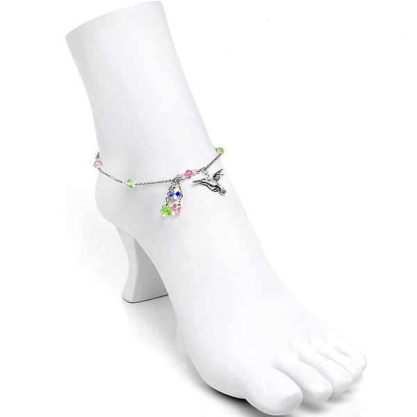 Handcrafted Hummingbird Ankle Bracelet Created with Swarovski Crystals
