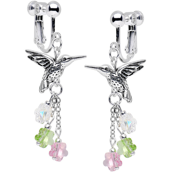 Handcrafted Hummingbird Clip Earrings Created with Swarovski Crystals