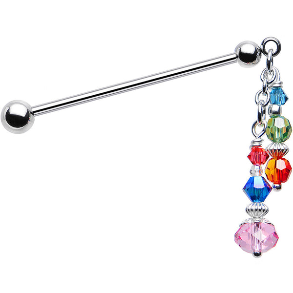 Handcrafted Rainbow Industrial Barbell Created with Swarovski Crystals