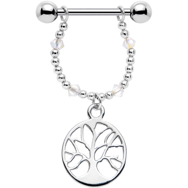 Handcrafted Tree of Life Nipple Ring Set Created with Swarovski Crystals