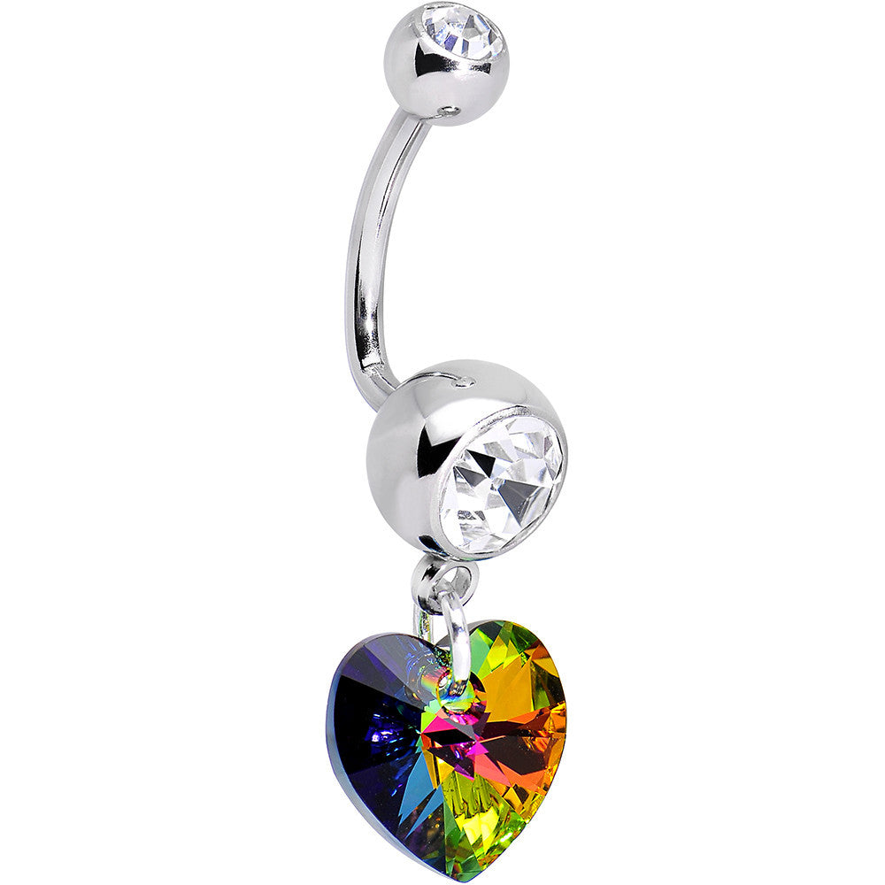 Handcrafted Clear Gem Vitrail Heart J Bar Belly Ring