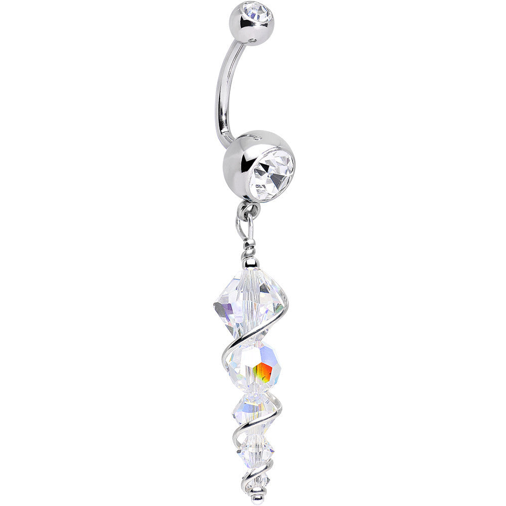 Handcrafted Clear Gem Sparkling Icicle J Bar Dangle Belly Ring