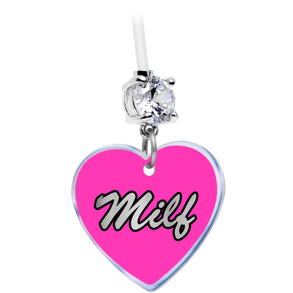 Handcrafted Clear Gem Pink Heart MILF Pregnancy Belly Ring