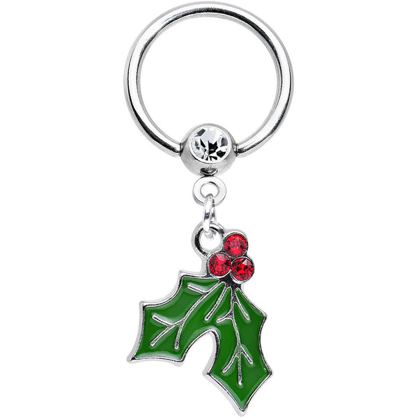 14 Gauge 1/2 Red Green Gem Holiday Holly Dangle Captive Ring