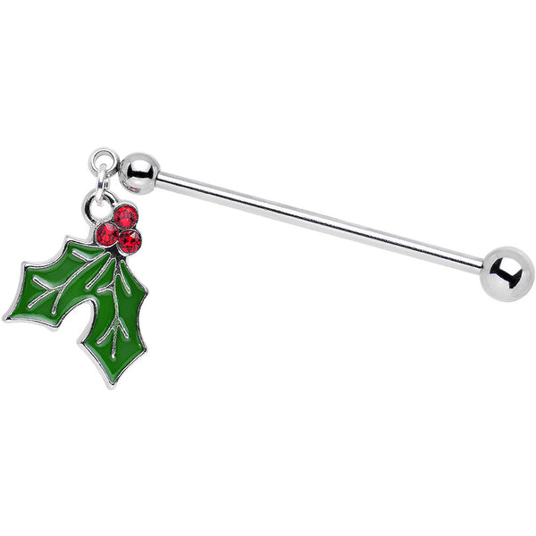 Holiday Holly Dangle Industrial Barbell Created with Swarovski Crystal