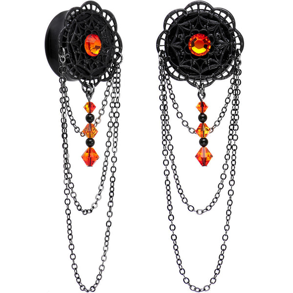 "7/8"" Handcrafted Gothic Web Plug Set Created with Swarovski Crystals"