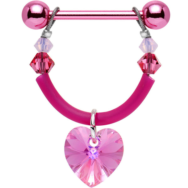 Handcrafted Pink Heart Nipple Shield Set Created with Swarovski Crystals