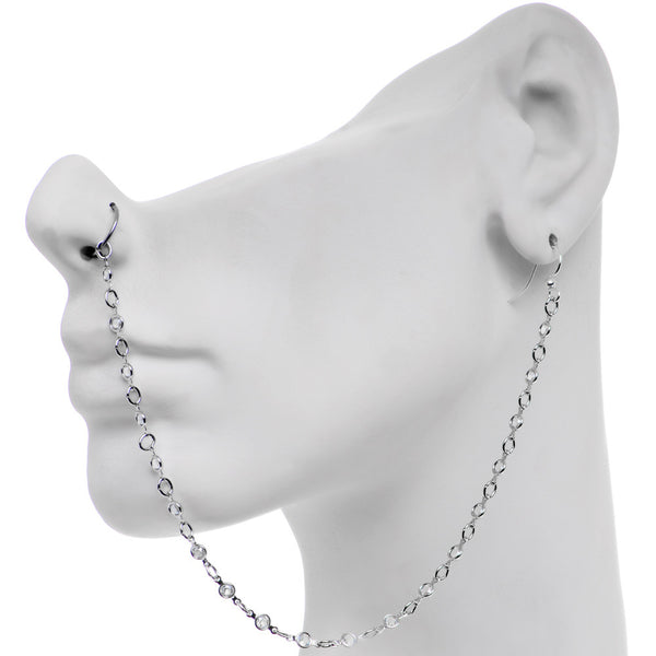 Pretty Punk Ear to Nose Chain Created with Swarovski Crystals