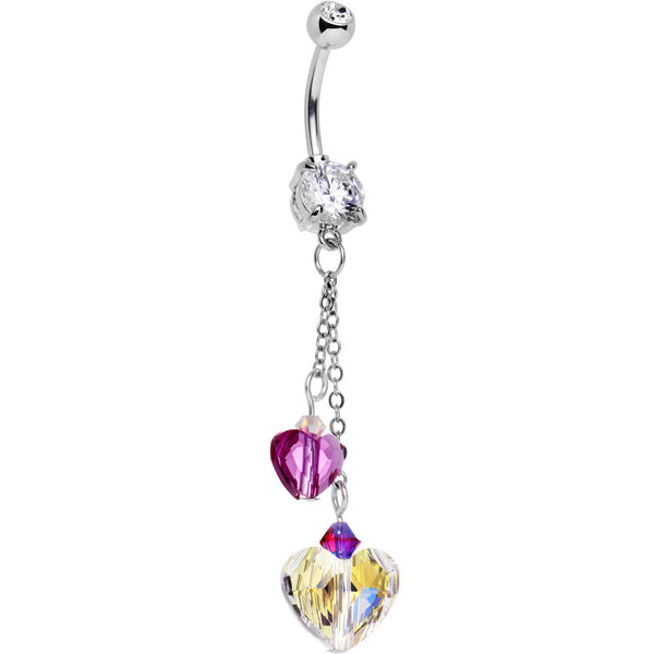 Handcrafted Hearts Drop Belly Ring Created with Swarovski Crystals