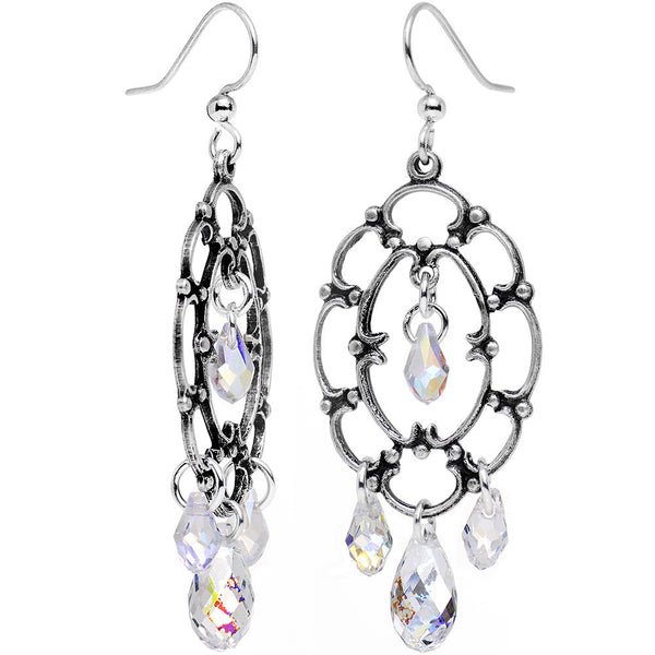 Handcrafted Clear Drop Frame Earrings Created with Swarovski Crystals