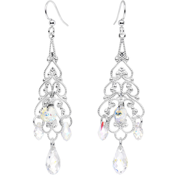 Handmade Clear Silver Plated Earrings Created with Swarovski Crystals