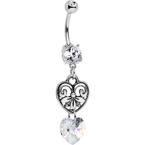 Handmade Clear Scroll Heart Belly Ring Created with Swarovski Crystals