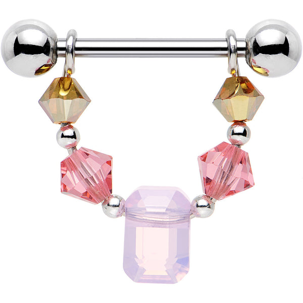 Handcrafted Pink Sunrise Nipple Ring Set Created with Swarovski Crystals