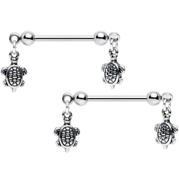 14 Gauge 5/8 Handcrafted Turtle Charm Dangle Nipple Ring Set of 2