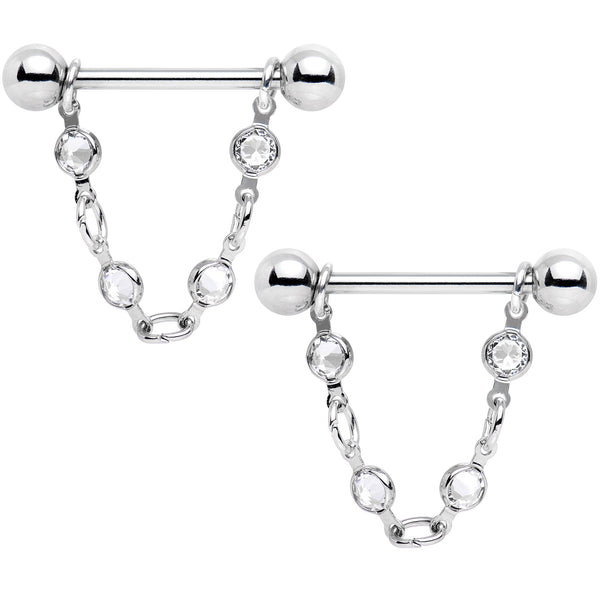 Handmade Clear Chain Nipple Ring Set Created with Swarovski Crystals