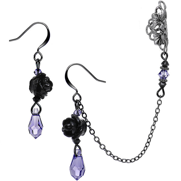 Purple Black Rose Earring Chain Cuff Created with Swarovski Crystals