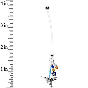 Handcrafted Floral Hummingbird Dangle Pregnancy Belly Ring 50mm