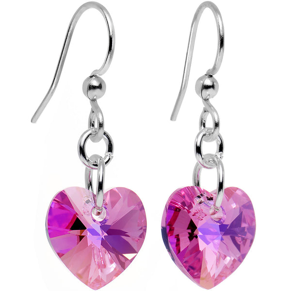 Handcrafted Pink Heart Earrings Created with Swarovski Crystals