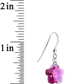 925 Silver Pink Flower Earrings Created with Swarovski Crystals