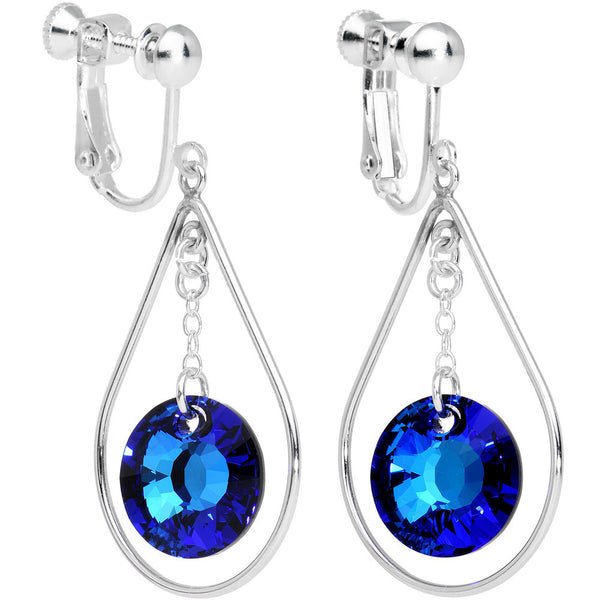 Handcrafted Blue Drop Clip On Earrings Created with Swarovski Crystals