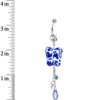 Handcrafted China Butterfly Belly Ring Created with Swarovski Crystals