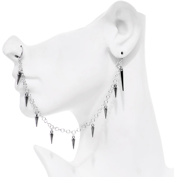 20 Gauge 5/16 Handcrafted Studded Spike Earring to Nose Hoop Chain