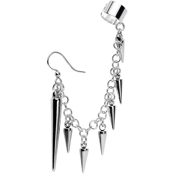Handcrafted Silver Plated Studded Spike Earring to Ear Cuff Chain Set