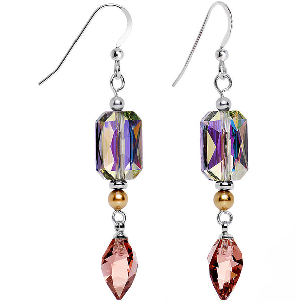925 Silver Aurora Rosy Drop Earrings Created with Swarovski Crystals