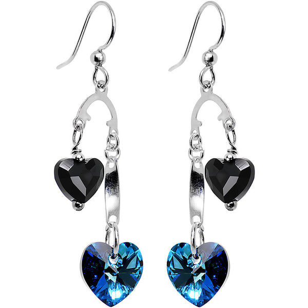 Handmade Black and Blue Heart Earrings Created with Swarovski Crystals