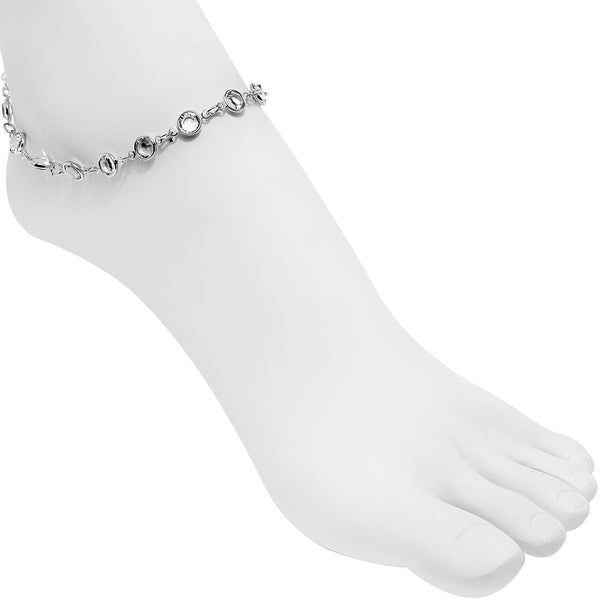 Handmade Clear Gem Ankle Bracelet Created with Swarovski Crystals